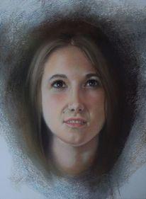 Pastellmalerei, Mädchen, Portrait, Menschen