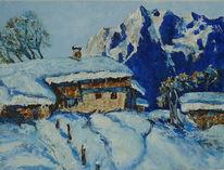 Schnee, Berge, Wald, Winter