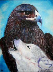 Falke, Wolf, Malerei