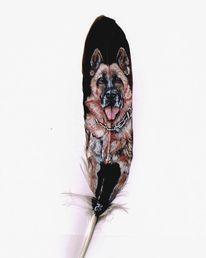 Feder, Hund, Schäferhund, Malerei
