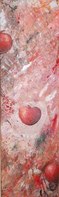 Apfel, Rot, Abstrakt, Malerei