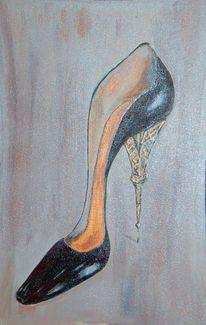 Schwarz, Gold, Schuhe, Eiffelturm