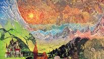 Berge, Wolken, Malerei, Sonne