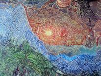 Sonnenuntergang, Fantastische malerei, Gebirgskette, Alpen