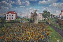 Landschaft, Sonnenblumen, Auto, Stadt