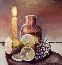 Stillleben, Kerzen, Zitrone, Weintrauben