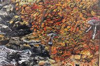 Blätter, Herbstwald, Pilze, Stein