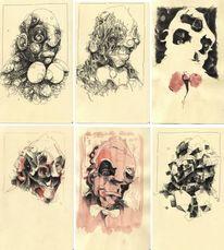 Schwarzweiß, Illustration, Figural, Gesicht