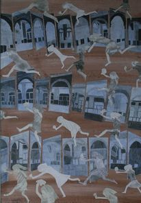 Aussenraum, Springende mit blumen, Innenraum, Malerei