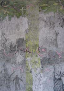 Stadtansicht, Figuren im nebel, Freiheitsstatuen, Zeichnungen