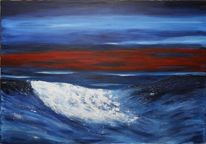 Welle, Meer, Abendstimmung, Acrylmalerei