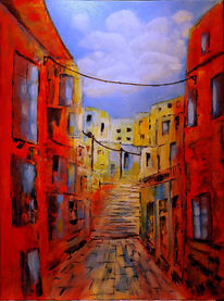 Frankreich, Acrylmalerei, Stadtansicht, Malerei