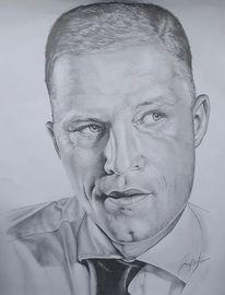 Portrait, Bleistiftzeichnung, Till, Schweiger