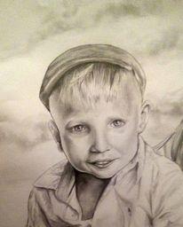 Junge, Portrait, Schwarz weiß, Malerei