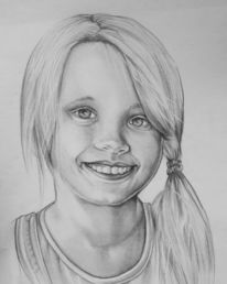 Kinder, Mädchen, Portrait, Bleistiftzeichnung