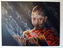 Birma, Spachteltechnik, Realistische malerei, Mönch