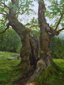 Wald, Natur, Landschaft, Acrylmalerei