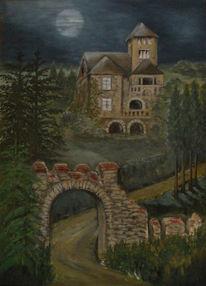 Romantik, Landschaft, Acrylmalerei, Villa