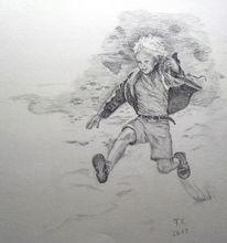 Sprung, Bleistiftzeichnung, Bewegung, Ferien