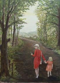 Landschaft, Kind, Wald, Acrylmalerei