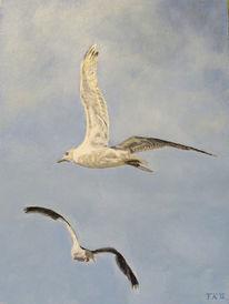 Acrylmalerei, Strand, Nordsee, Vogel