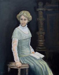 Gründerzeit, Dame, Portrait, Acrylmalerei