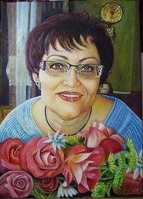 Portrait, Frau, Blumen, Malerei