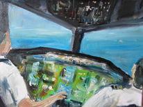 Cockpit, Flugzeug, Abstrakt, Malerei