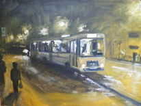 Buss nacht, Stadt, Malerei,