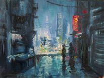 Abend, Stadt, Regen, Zwielicht