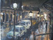 Nacht, Auto, Straße, Malerei