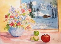 Stillleben, Aquarellmalerei, Winterlandschaft, Aquarell