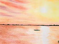Aquarellmalerei, Aquarell, Sonnenaufgang, Meer