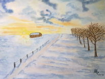Winterlandschaft, Aquarell, Sonnenaufgang, Winter