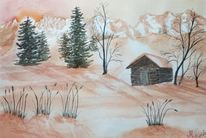 Berge, Sonnenaufgang, Winterlandschaft, Aquarellmalerei