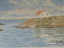 Aquarellmalerei, Aquarell, Haus, Meer