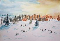 Winterlandschaft, Aquarellmalerei, Aquarell