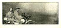 Radierung, Druckgrafik, Schwarz, Motorrad