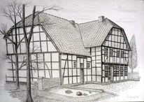 Bauernhof, Landschaft, Bleistiftzeichnung, Zeichnungen