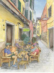 Cafe, Urban sketching, Altstadt, Kroatien