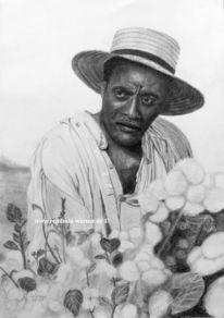 Bleistiftzeichnung, Sklave, Baumwoll pflücker, Schicksal