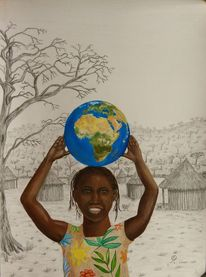 Glückliches kind, Afrika, Kinderhände, Stroh