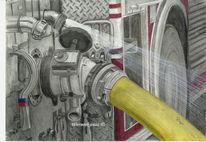 Bleistiftzeichnung, Feuerwehr pumpe, Zeichnungen,