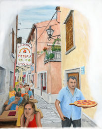 Rovinj, Pizza, Urban sketching, Romantik