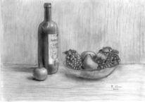 Kohlezeichnung, Zeichnungen, Wein, Obst