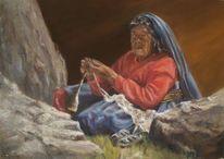 Menschen, Frau, Malen, Ölmalerei