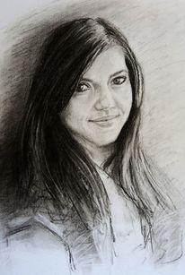 Kohlezeichnung, Kontrast, Portrait, Zeichnung