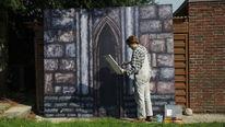 Mittelalterlich, Mauer, Acrylmalerei, Wand
