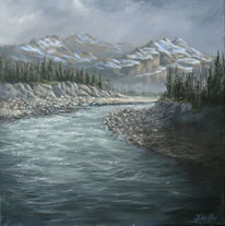 Berge, Tanne, Acrylmalerei, Landschaft