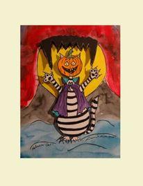 Cat2, Halloween, Katze, Malerei